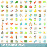 100 business icons set, cartoon style. 100 business icons set in cartoon style for any design  vector illustration Royalty Free Stock Image
