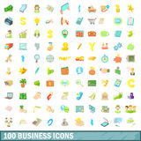 100 business icons set, cartoon style Stock Photo