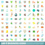 100 it business icons set, cartoon style. 100 it business icons set in cartoon style for any design vector illustration Royalty Free Stock Images