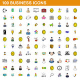 100 business icons set, cartoon style Stock Image