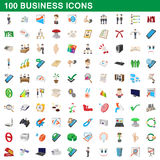 100 business icons set, cartoon style Royalty Free Stock Photos