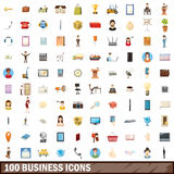 100 business icons set, cartoon style Stock Photography