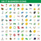 100 it business icons set, cartoon style. 100 it business icons set in cartoon style for any design illustration vector illustration