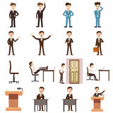 Business icons set, cartoon style Stock Images