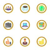 Business icons set, cartoon style. Business icons set. Cartoon set of 9 business vector icons for web isolated on white background Stock Photography