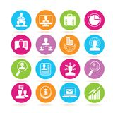 Business icons. Set of 16 Business icons in colorful buttons Stock Photography