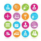 Business icons. Set of 16 Business icons in colorful buttons Stock Photos