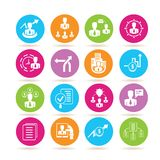 Business icons. Set of 16 business icons in colorful buttons Royalty Free Stock Photo