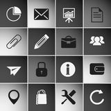 Business Icons Set. On dark squares. Vector Illustration Royalty Free Stock Photo