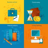 Business Icons Set. Business design concept set with contract time is money financial analytics online banking icons  vector illustration Stock Photo