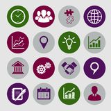 Business Icons Set and Design Elements. For infographics presentation isolated vector illustration Royalty Free Stock Photos