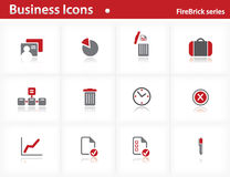 Business icons set - Firebrick Series. Set 1 Stock Images
