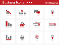 Business icons set - Firebrick Series. Set 3 Royalty Free Stock Images