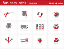 Business icons set - Firebrick Series Stock Photo