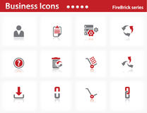 Business icons set - Firebrick Series. Set 5 Stock Image