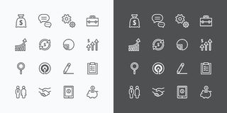 Business icons set. flat line design vector for Web and Mobile Royalty Free Stock Photography