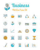 Business icons set flat line style. Vector business icons set flat line style Stock Photos