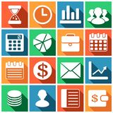 Business icons. Set of flat simple colored icons (business, financial, money, banking),  illustration Royalty Free Stock Image