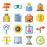 Business icons. Set of 16 business icons flat style Royalty Free Stock Photos