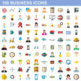 100 business icons set, flat style Royalty Free Stock Image