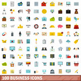 100 business icons set, flat style Stock Image