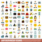 100 business icons set, flat style Royalty Free Stock Photos