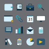 16 business icons set in flat style. Colorful vector illustration Stock Photo
