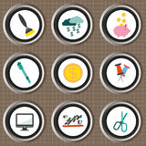 Business icons set, flat style over brown background with grid. Digital vector image Stock Photography