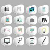 Business icons set, flat style over silver background. Digital vector image Royalty Free Stock Photography