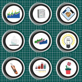 Business icons set, flat style over silver background with white grid Royalty Free Stock Image