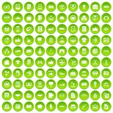 100 business icons set green circle. Isolated on white background vector illustration Royalty Free Stock Images