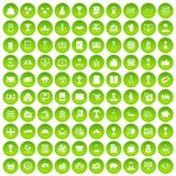 100 business icons set green circle. Isolated on white background vector illustration Royalty Free Stock Image