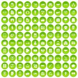100 business icons set green. 100 business icons set in green circle isolated on white vectr illustration vector illustration