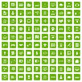 100 IT business icons set grunge green Stock Images