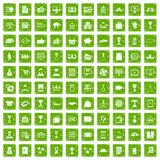 100 business icons set grunge green. 100 business icons set in grunge style green color isolated on white background vector illustration Royalty Free Stock Image