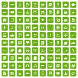 100 business icons set grunge green Royalty Free Stock Photography