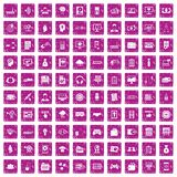 100 IT business icons set grunge pink. 100 IT business icons set in grunge style pink color isolated on white background vector illustration stock illustration