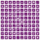 100 IT business icons set grunge purple. 100 IT business icons set in grunge style purple color isolated on white background vector illustration Stock Image