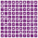 100 business icons set grunge purple. 100 business icons set in grunge style purple color isolated on white background vector illustration Stock Photos
