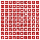 100 IT business icons set grunge red Stock Images