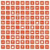 100 business icons set grunge orange. 100 business icons set in grunge style orange color isolated on white background vector illustration Stock Images
