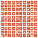 100 business icons set grunge orange. 100 business icons set in grunge style orange color isolated on white background vector illustration Vector Illustration