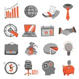 Business Icons Set. With handshake briefcase lightbulb isolated vector illustration Royalty Free Stock Photo