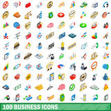 100 business icons set, isometric 3d style Stock Photo
