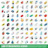 100 it business icons set, isometric 3d style Royalty Free Stock Photography