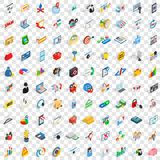 100 it business icons set, isometric 3d style Stock Images