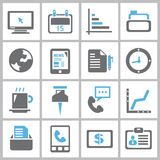 Business icons. Set of 16 business icons and office icons royalty free illustration