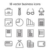 Business icons set. Office and document symbols. Vector Stock Image