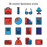 Business icons set. Office and document symbols. Vector Stock Photos