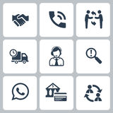 Business icons set. Office business icons set of management and business in black color isolated on white background Stock Photography
